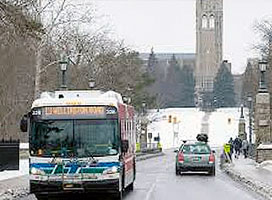 London transit bus on campus