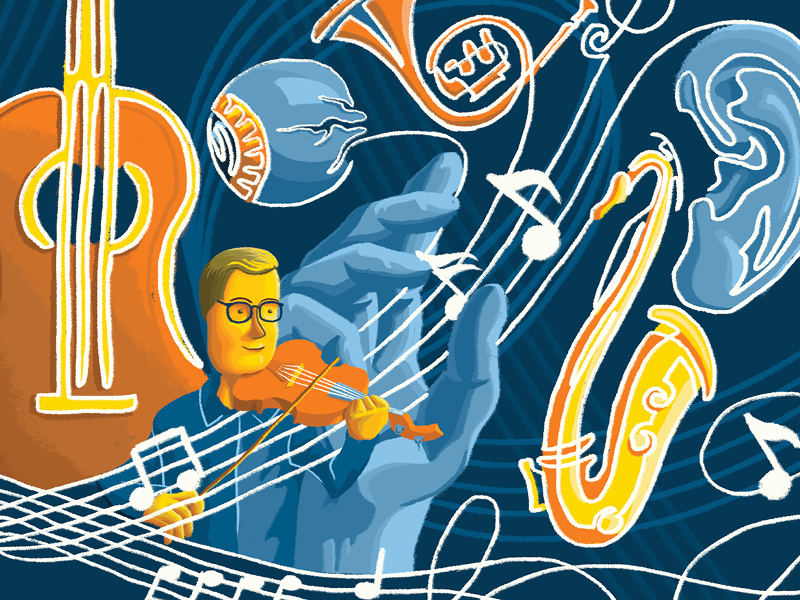 Illustration of man playing a violin with musical instruments floating in the air behind him.